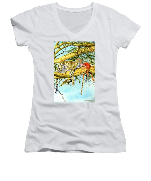 Leopard With A Kill Women's V-Neck