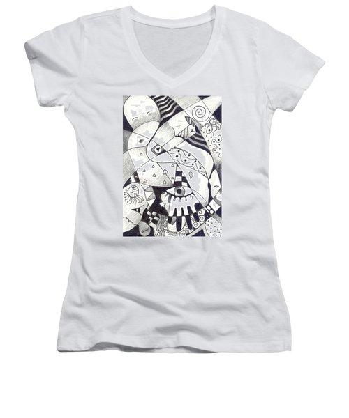 Let Us Dance Women's V-Neck T-Shirt (Junior Cut) by Helena Tiainen