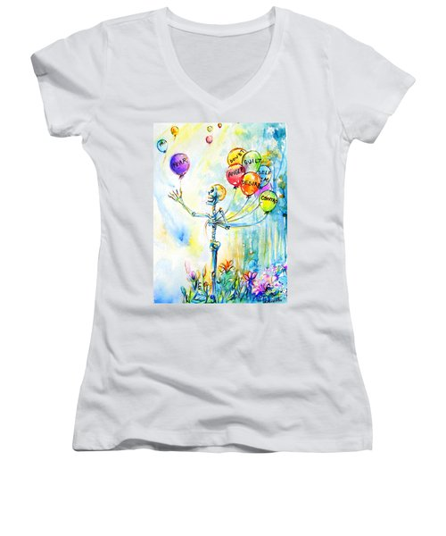 Women's V-Neck T-Shirt (Junior Cut) featuring the painting Letting Go by Heather Calderon
