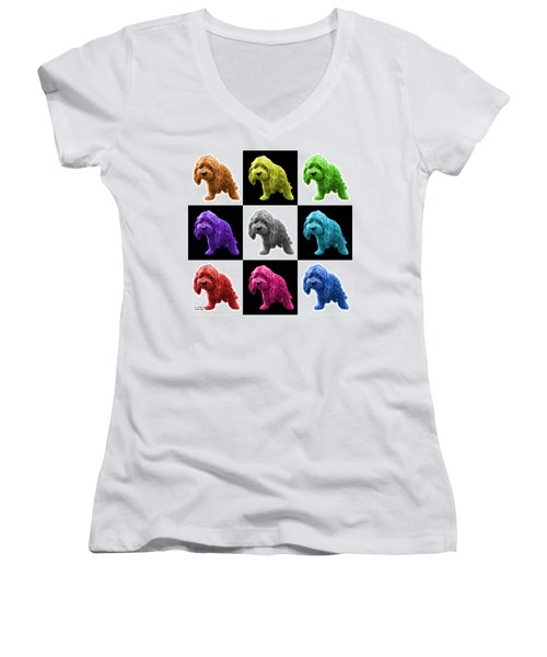 Lhasa Apso Pop Art - 5331 - V2- M Women's V-Neck T-Shirt (Junior Cut) by James Ahn