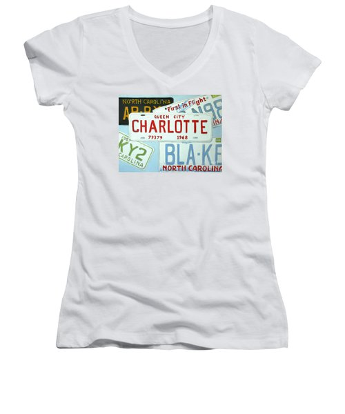 License Plates Women's V-Neck T-Shirt
