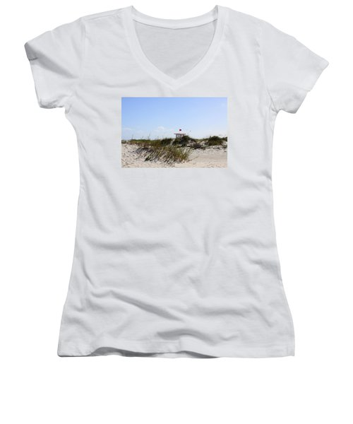 Women's V-Neck T-Shirt (Junior Cut) featuring the photograph Lifeguard Station by Chris Thomas
