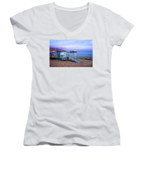 Lifeguard Tower And Malibu Beach Pier Seascape Fine Art Photograph Print Women's V-Neck (Athletic Fit)