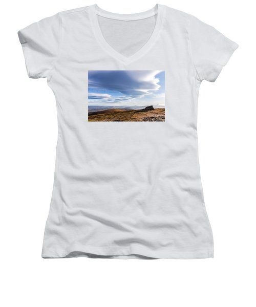 Lightfall On Djouce Mountain Summit Women's V-Neck T-Shirt (Junior Cut) by Semmick Photo