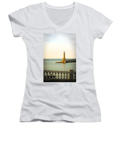 Lighthouse - Alexandria Egypt Women's V-Neck T-Shirt (Junior Cut) by Mary Machare