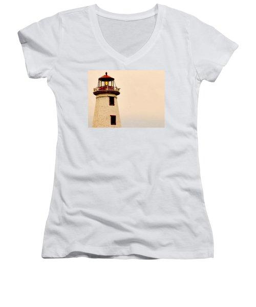Lighthouse Beam Women's V-Neck T-Shirt (Junior Cut) by Steve Archbold
