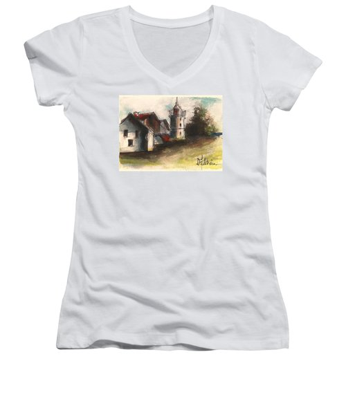Lighthouse By Day Women's V-Neck T-Shirt
