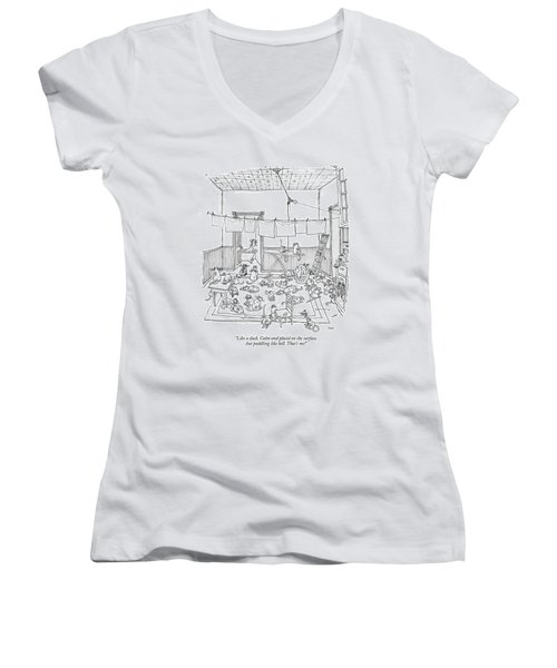 Like A Duck. Calm And Placid On The Surface Women's V-Neck