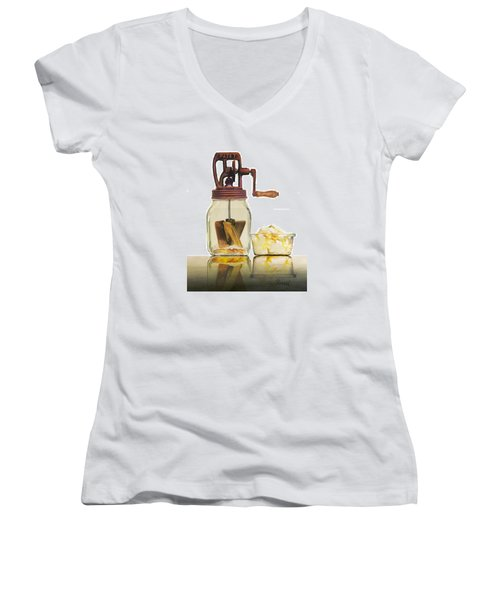 Like Buttah Women's V-Neck T-Shirt (Junior Cut) by Ferrel Cordle