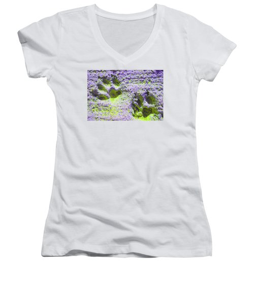 Lilac And Green Pawprints Women's V-Neck (Athletic Fit)