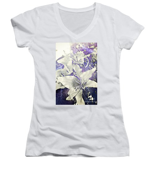 Women's V-Neck T-Shirt (Junior Cut) featuring the photograph Lilies And Denim by Janie Johnson