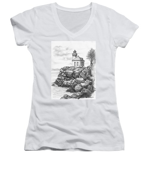 Lime Kiln Lighthouse Women's V-Neck
