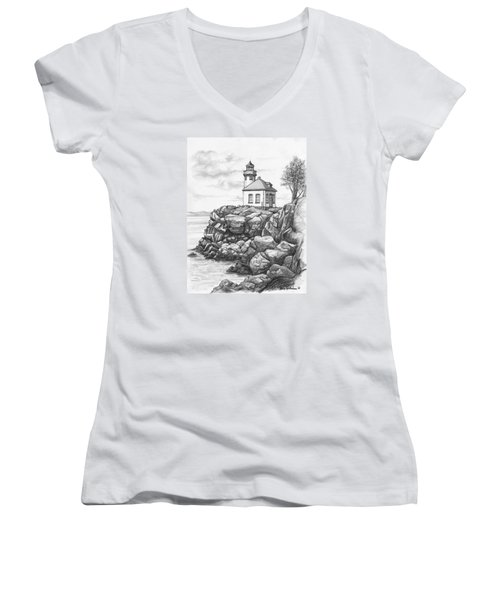 Lime Kiln Lighthouse Women's V-Neck T-Shirt