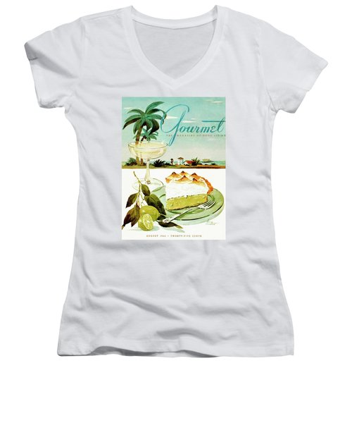 Lime Meringue Pie With Champagne Women's V-Neck