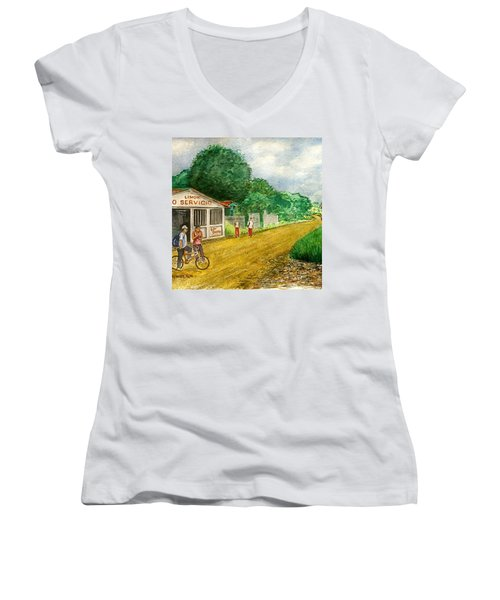 Limon Costa Rica Women's V-Neck T-Shirt (Junior Cut) by Frank Hunter