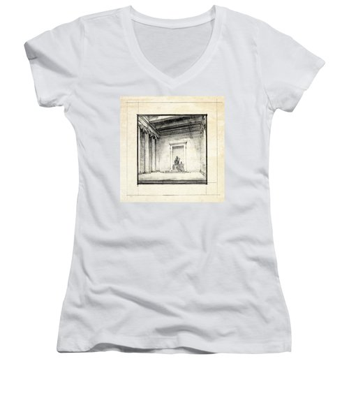 Lincoln Memorial Sketch IIi Women's V-Neck T-Shirt (Junior Cut) by Gary Bodnar