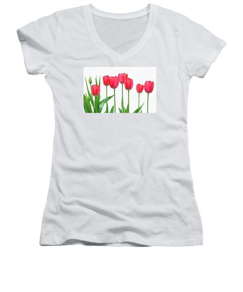 Women's V-Neck T-Shirt (Junior Cut) featuring the photograph Line Of Tulips by Steve Augustin