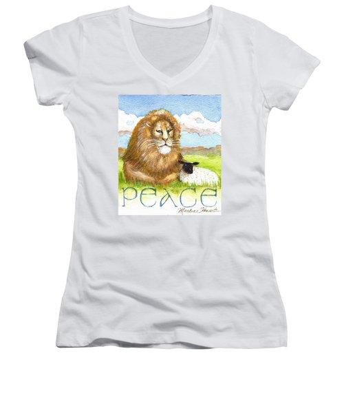 Lion And Lamb - Peace  Women's V-Neck