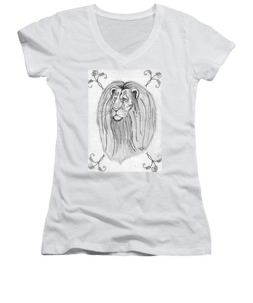 Lion Women's V-Neck T-Shirt