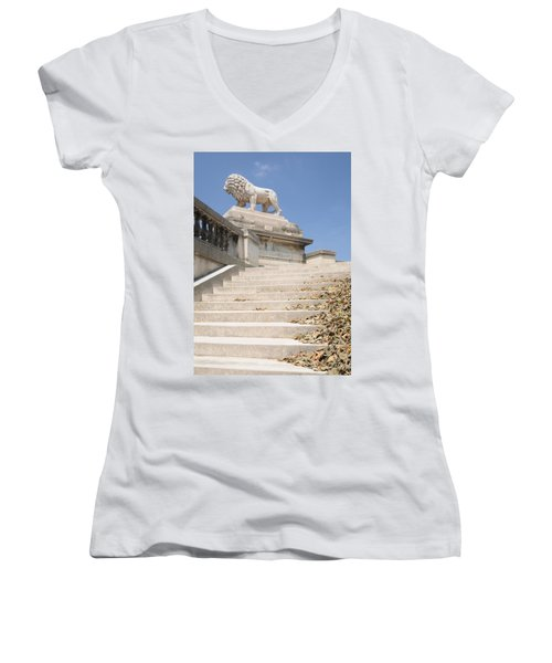 Lion Tuileries Garden Paris Women's V-Neck T-Shirt (Junior Cut) by Jeremy Voisey