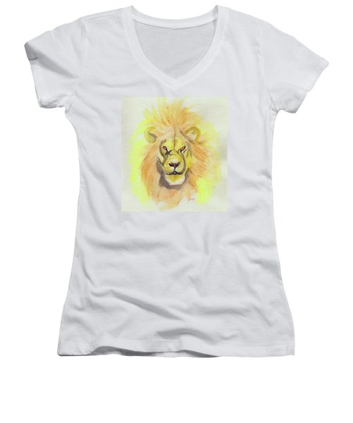 Lion Yellow Women's V-Neck T-Shirt (Junior Cut) by First Star Art