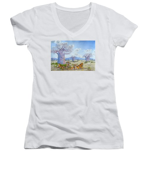 Lions By The Baobab Women's V-Neck