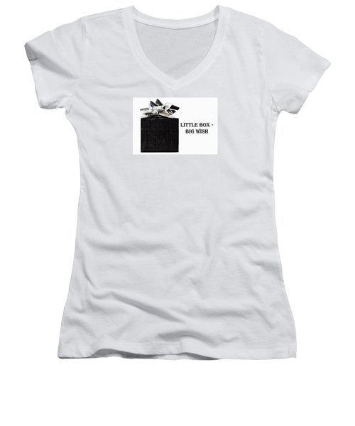 Women's V-Neck T-Shirt (Junior Cut) featuring the photograph Black Present With A Silver Bow by Vizual Studio