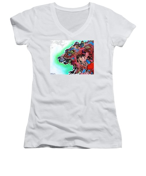 Women's V-Neck T-Shirt (Junior Cut) featuring the painting Little Griz by Nicole Gaitan