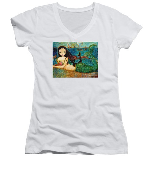 Little Mermaid Women's V-Neck T-Shirt (Junior Cut) by Shijun Munns