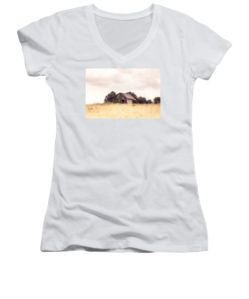Women's V-Neck T-Shirt (Junior Cut) featuring the photograph Little Old Barn In A Field - Landscape  by Gary Heller