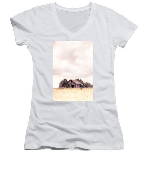 Women's V-Neck T-Shirt (Junior Cut) featuring the photograph Little Old Barn In The Field - Ontario County New York State by Gary Heller
