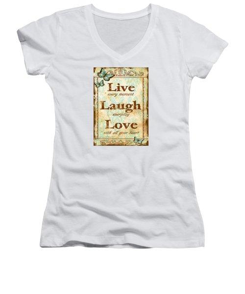 Live-laugh-love Women's V-Neck (Athletic Fit)