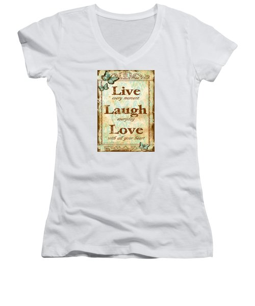 Live-laugh-love Women's V-Neck T-Shirt
