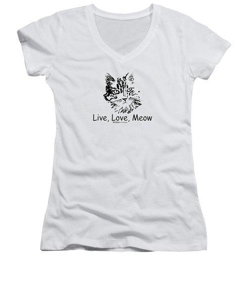 Live Love Meow Women's V-Neck T-Shirt