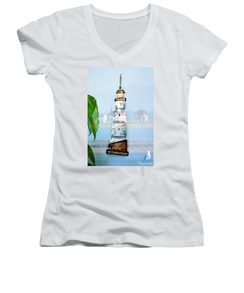 Living By The Sea - Pacific Ocean Women's V-Neck (Athletic Fit)