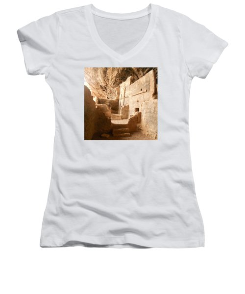 Women's V-Neck T-Shirt (Junior Cut) featuring the photograph Living In The Rocks by Kerri Mortenson