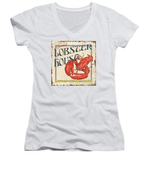 Lobster House Women's V-Neck T-Shirt (Junior Cut) by Debbie DeWitt