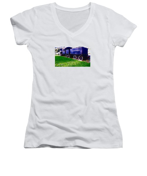 Women's V-Neck T-Shirt (Junior Cut) featuring the photograph Locomotive Steam Engine by Sadie Reneau