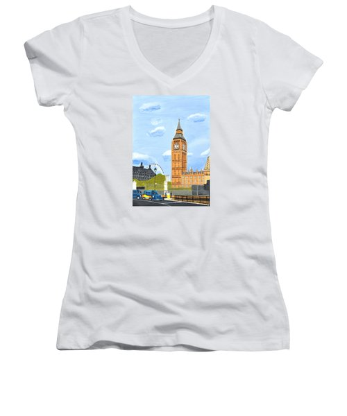 Women's V-Neck T-Shirt (Junior Cut) featuring the painting London England Big Ben  by Magdalena Frohnsdorff