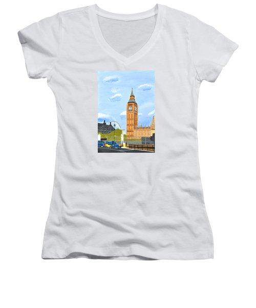 London England Big Ben  Women's V-Neck T-Shirt (Junior Cut) by Magdalena Frohnsdorff