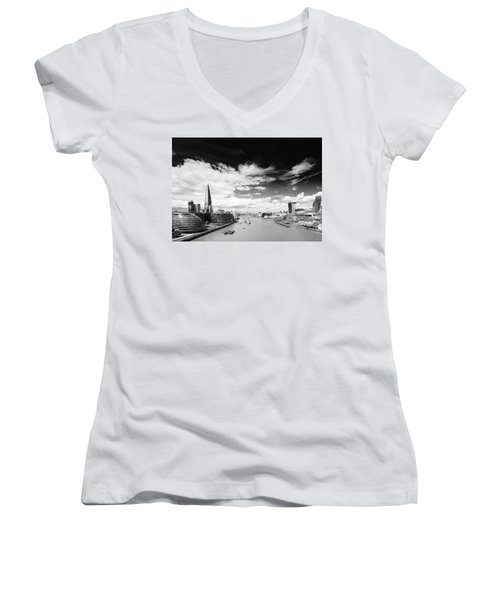 Women's V-Neck T-Shirt (Junior Cut) featuring the photograph London Panorama by Chevy Fleet