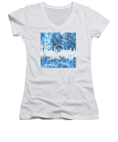 London Skyline Abstract 13 Women's V-Neck T-Shirt