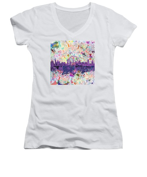 London Skyline Abstract Women's V-Neck T-Shirt