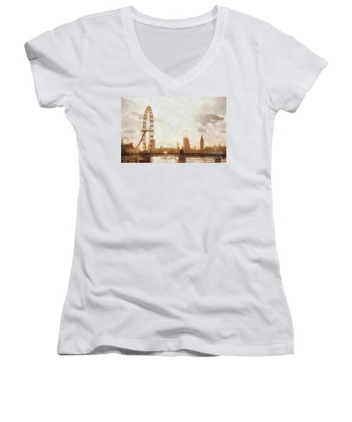 London Skyline At Dusk 01 Women's V-Neck T-Shirt