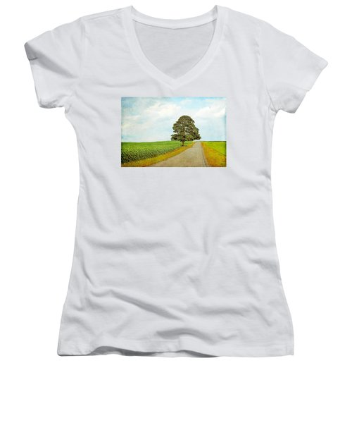 Women's V-Neck T-Shirt (Junior Cut) featuring the photograph Lone Tree by Brooke T Ryan