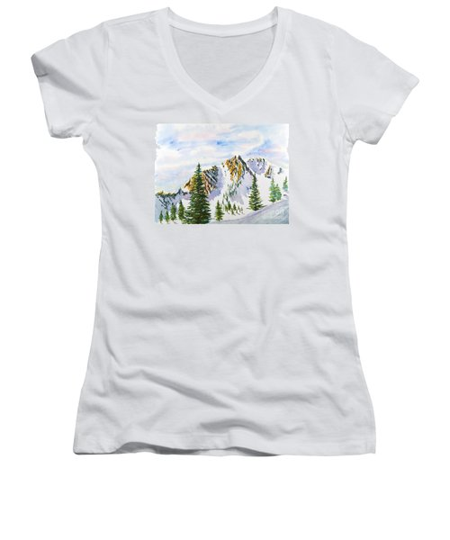 Lone Tree In The Morning Women's V-Neck (Athletic Fit)