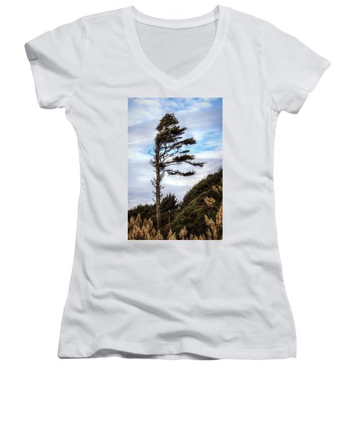 Women's V-Neck T-Shirt (Junior Cut) featuring the photograph Lone Tree by Melanie Lankford Photography