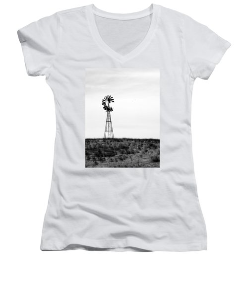 Women's V-Neck T-Shirt (Junior Cut) featuring the photograph Lone Windmill by Cathy Anderson