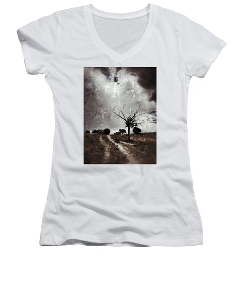 Lonely Tree Women's V-Neck T-Shirt (Junior Cut) by Mark David Gerson