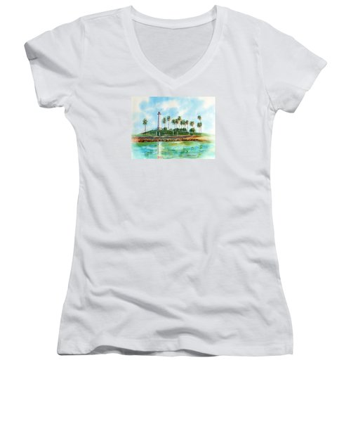 Long Beach Lighthouse  Version 2 Women's V-Neck T-Shirt (Junior Cut) by Debbie Lewis